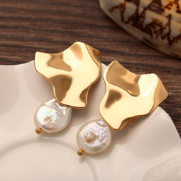 Freshwater pearl drop earrings online shopping - Freshwater Big Drop Dangle Earrings For Women Brincos Bohemian Natural Pearl Earring Gold Handmade Statement Jewelry Gift