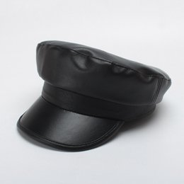 leather snapbacks wholesale Australia - Autumn And Winter Snapbacks Fashion Black Flexible Leather Hat Seaman Foldable Creative Baseball Cap For Women 20ta jj