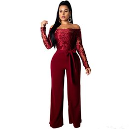 7e572ce88c Women Elegant Sexy Lace Patchwork Jumpsuit Off Shoulder Slash Neck Long Sleeve  Rompers Wide Leg Pants Overalls