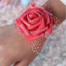 cheap bridesmaids accessories NZ - Eco-Friendly Real Image Cheap Pink Bride Bridesmaid Wrist Flowers Cheap Wedding Supplies Ribbon Flower for Wedding Accessories