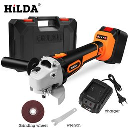 Wholesale HILDA V Angle Grinder Cordless Lithium ion Grinding machine Brushless Cordless Electric grinder Angle Power Tools