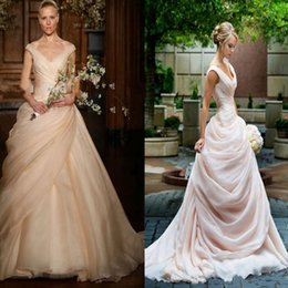 $enCountryForm.capitalKeyWord Australia - 2019 new elegant Blush Pink Pick Up Ball Gown Wedding Dresses Long V Neck Side Draped Princess Bride Bridal Gowns boho Vestido De Novia