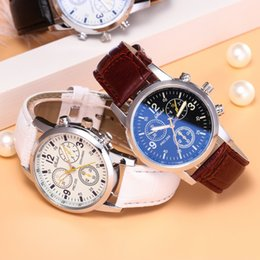Mens Wholesale Glasses Australia - New Men watch Fashion Faux Leather Watches Mens Blue Ray Glass Quartz Analog Wristwatch Clock Cheaper