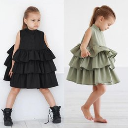 $enCountryForm.capitalKeyWord NZ - 2019 New Summer Cute Toddler Kids Baby Girls Cotton Party Pageant Solid Layered Ruffles Cotton Tutu Dress Sundress Clothes 2-6y