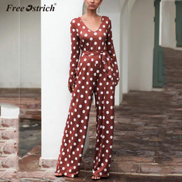 women casual jumpsuit romper Australia - Free Ostrich Long Sleeve Backless Boho Bow-knot Dot Jumpsuits Women 2020 Summer Romper Strap Beach Elegant Jumpsuit Overalls N30