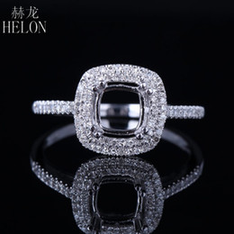 $enCountryForm.capitalKeyWord Australia - HELON 6mm Cushion Cut Solid 14K White Gold Pave 0.3ct Genuine Natural Diamonds Halo Engagement Wedding Semi Mount Ring Jewelry