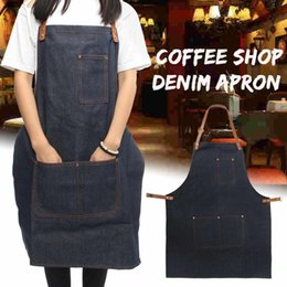 $enCountryForm.capitalKeyWord Australia - Working Apron Work Clothes Cafe Barista Pockets Soldering Barber Denim Blue Workwear Straps Kitchen Aprons