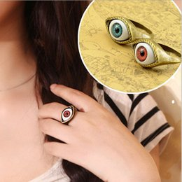 Discount vintage eye ring - Engagement Rings Hot Selling Vintage Retro Europe Punk Gothic Exaggerated Vampire Blue Brown Color Eye Rings For Women
