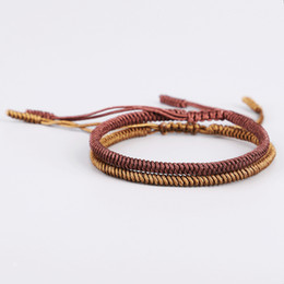 $enCountryForm.capitalKeyWord NZ - Handmade Woven Knitted Tibetan Buddhist Wristbands Lucky Knots Sliding Rope Braided Buddha Bracelet for Protection Jewelry