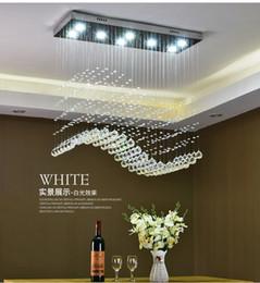 $enCountryForm.capitalKeyWord Australia - Contemporary Crystal Rectangle Chandelier Rain Drop Crystal Ceiling Light Fixture Wave Design Flush Mount For Dining Room