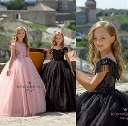 Girls champaGne color paGeant dresses online shopping - Lovely Pink Sequins Flower Girl Dresses Off Shoulders Tassel A Line Tulle Girls Pageant Gowns Custom Made Girls Wear For Weddings
