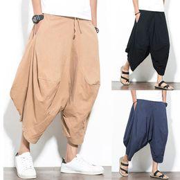 Pantalones casuales de hombre Pantalones de algodón de pierna ancha Pantalones  harem Pantalones sueltos Joggers Hombres Caída Entrepierna Sólido Hip-hop  ... 21642a5f289