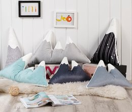 plain dolls 2019 - Lovely Mountain Peak Shape Cushion Pillow Bed Decoration Calm Sleep Dolls Plush Toys Nordic Kids Room Decor cheap plain