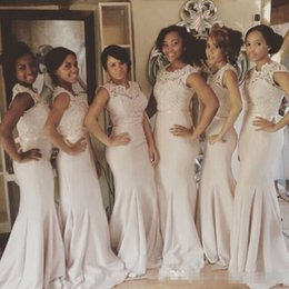 Discount long dresses south africa - Lace Bridesmaid Dresses Long Satin Jewel Neck South Africa Sleeveless Ruched Mermaid Formal Evening Prom Gowns 2019 Maid