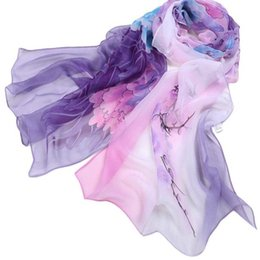 Wholesale t 2019 Women Ladies Chiffon Floral Scarf Soft Wrap Long Shawls and Scarves Top Quality17