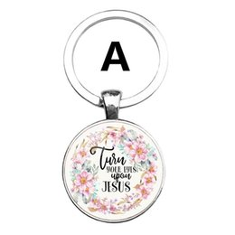 Wholesale 2019 HOT Fashion Bible Verses Key Chain Glass Dome Pendant Key Chain Scripture Quote Jewelry Christian Faith Inspirational Gifts