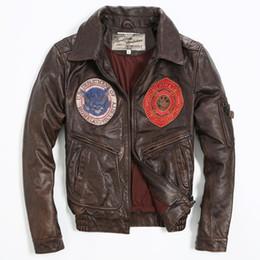 Wholesale lether jackets for sale - Group buy vintage badge bomber pattern flight motorcycle genuine lether jacket men brown leather coat
