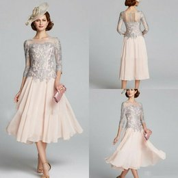 0b5dc73064 2019 Chiffon Mother of the Bride Dresses 3 4 Long Sleeves Lace Appliques  Evening Gowns Custom Made Tea-Length A-Line Wedding Guest Dress