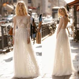 Dresses tops online shopping - Gali Karten New Designed A Line Wedding Dresses Sheer Illusion Top Backless Applique Long Sleeves Summer Boho Bridal Gowns