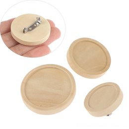 brooch trays UK - 10pcs wood Round Brooch Base DIY Cabochon Blanks Trays with Brooch stainless steel Event & Party Supplies Festive & Party Supplies Pins Came