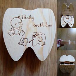 Baby Shoes Red White Australia - NewTooth box Portuguese English  Spanish  French  Italian Baby Tooth Box Wooden Milk Teeth Organizer Storage Souvenir