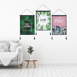 $enCountryForm.capitalKeyWord Australia - Decor Wall Scroll Hanging Tapestry Fashion Green Leaves Hanging Painting,Sofa Background Hanging Cloth,Corridor,Porch,Electric Meter Box