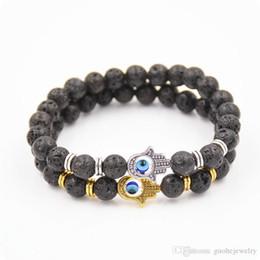 Bracelets For Men Silver Australia - New bracelets for men Natural energy lava stone bracelets Fatima hand Buddha beads bracelets free shipping