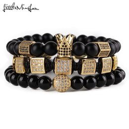 hexagon beads NZ - 3pcs set Natural Stone Beads Men Bracelet Set Cz Copper Square Braiding Hexagon Crown Ball Charms Bracelets & Bangles Jewelry Y19051101