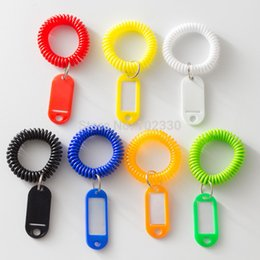 $enCountryForm.capitalKeyWord Australia - Stretchy Coil Spring Key Ring Plastic Wrist Band Key Fobs Luggage ID Tags Key Rings with Name Cards KeyChain