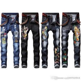 skinny jeans for plus size men Canada - Men Chinese Dragon Print Pencil Jeans 2018 Autumn Fashion Male Slim Fit Denim Pants Night Club Skinny For Man Plus Size