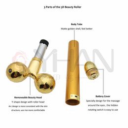 wholesale 24k gold skin care Canada - Electric Face Lifting 24k Gold Facial Beauty Vibration Roller Massager Stick Face Skin Care Stick Lifting Firming