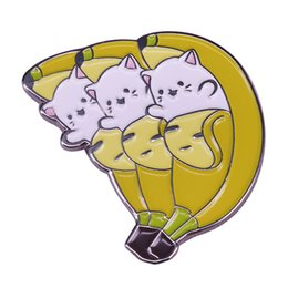 enamel pin badges UK - Banana bunch cat enamel pin kawaii bananya kitten badge anime jewelry unique backpack jacket accessory