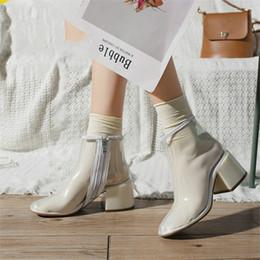 $enCountryForm.capitalKeyWord Australia - Shoes Women Transparent Clear Lucite Block High Heel Women's Summer Ankle Boot Round Toe Zip Plastic Ladies Motorcycle Boots
