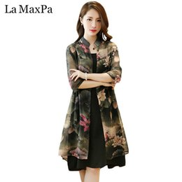a35b69f9f20f2 La Maxpa Women Summer Middle Age Vintage Dress Elegant Floral Printed Two  Piece Sexy Large Size Female Chiffon Loose Dresses Y19053001
