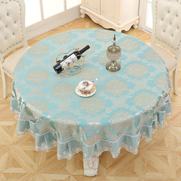 Red tablecloths cotton online shopping - Fabric Picnic Tablecloth quot Inch Round Table Cloth Table Cover Easy Care for Wedding or Party Damask Jacquard