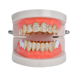 Discount rap jewelry - New Hip hop teeth tooth grillz copper zircon crystal teeth grillz Dental Grills Halloween jewelry gift wholesale for rap