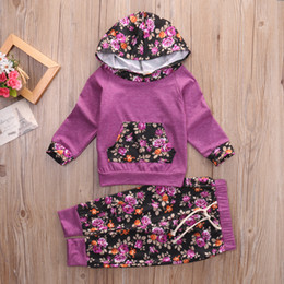 Long Woolen Shirts Girls Australia - 2PCS Baby Girls Long Sleeve T-shirt+Floral Pants Outfits Toddler Hooded Clothes
