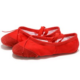 pink canvas shoes for women NZ - USHINE EU22-45 Leather Head Yoga Slippers Teacher Gym Indoor Exercise Canvas Red Ballet Dance Shoes For Kids Girls Woman