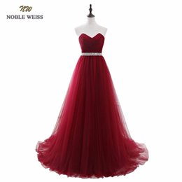 $enCountryForm.capitalKeyWord UK - Noble Weiss Dark Red Evening Dresses Net Pleat Beading Custom Made Lace-up Back Prom Party Gown With Court Train Y19042701