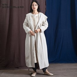17b0b9ed91 NINI WONDERLAND 2019 Spring Trench Coat Women Hooded Cotton Linen Long  Coats Lady Cardigan Outwear Autumn Robe Coat Big Size