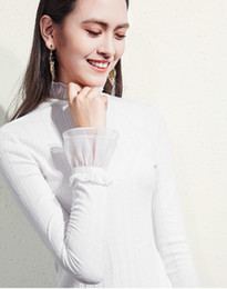 works bell Australia - Lcw new design fashion ladies slim version work leisure party charming elegant stand collar breathable Bell sleeveT-shirt top