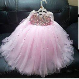 Vintage jewel long flower girl dress online shopping - Pink Pearls Flower Girl Dresses Long Sleeves Tulle Little Girl Wedding Dresses Vintage Communion Pageant Dresses Gowns F156