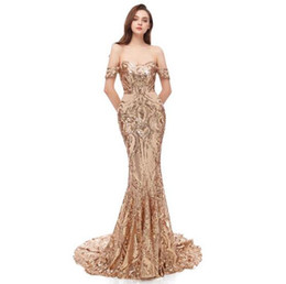 $enCountryForm.capitalKeyWord Australia - 2019 Real Sparkly Rose Gold Mermaid Dresses Evening Wear Pattern Lace Sequins African Off Shoulder Glitter Bling paillettes Prom Dresses