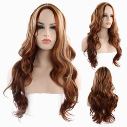 synthetic hair wholesalers NZ - 2019 Christmas gift fashion realistic High temperature Long curly wigs brown synthetic braid hair WIG-028