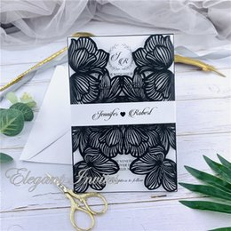 $enCountryForm.capitalKeyWord Australia - Black Exquisite Iridescent Pearl Paper Wedding Invitation Card Leaves Pattern Hollow Out Carved Crafts Card for Wedding Party free shipping