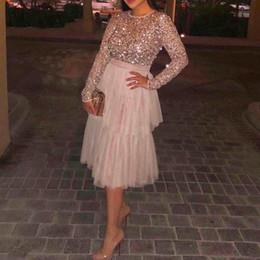 $enCountryForm.capitalKeyWord Australia - Arabia Evening Dress Long Vestido De Festa Sequins Evening Dresses Mid Calf Length Custom Made Elegant Evening Gown Tiered