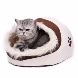 paw beds Canada - Warm Paw Style Cat Cave Bed Pet Cat House Lovely Soft Pet Cat Cushion High Quality Pet Dog Bed House Products Leopard Y200330
