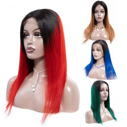 Red ombRe human haiR wigs online shopping - Soft Hair Remy Ombre Blonde Lace Front Human Hair Wigs PrePlucked B Burgundy Green Blue Red Brazilian Straight Bob Wig For Women