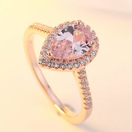 Rose Gold Cluster Engagement Rings Australia - 925 sterling silver Luxury Crystals Rose Gold Color Ring Pink Zircon Drop Shaped Women Delicated Wedding Engagement Ring Jewelry