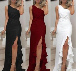 one shoulder split maxi dress Australia - Solid Color Designer Womens Dresses One Shoulder Split Draped Maxi Dresses Sexy Womens Clothing